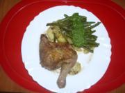 Hähnchen auf Kartoffel-Bohnen-Salat - Rezept