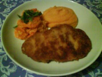 Karotten-Kartoffelpüree mit zarten Buttermöhrchen und Schnitzel Wiener Art - Rezept