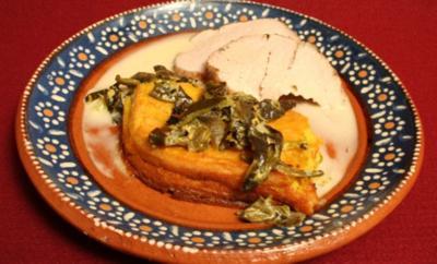 Schweinskarree mit Anis, dazu Maiskuchen - Rezept