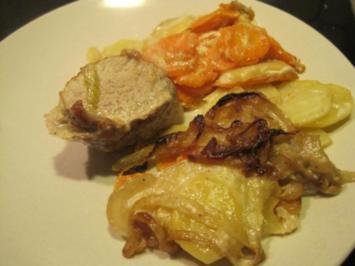 Schweinefilet auf Kartoffel-Karotten-Gratin mit Zwiebelkruste - Rezept