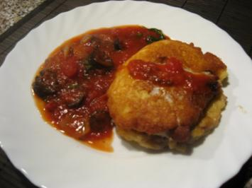 Piccata - gefüllt - mit Tomaten-Olivensoße - Rezept