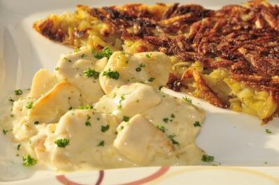 Hühnergeschnetzeltes nach Zürcher Art mit Rösti - Rezept