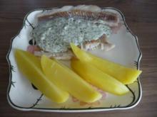 Fisch : Gedämpfter Alaska Seelachs an Meerrettich-Kräutersoße mit Salzkartoffeln - Rezept