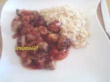 Hackbällchen in  pikanter Tomaten - Champignonsoße - Rezept