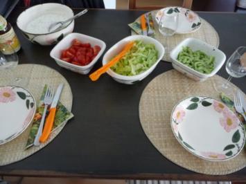Hauptgericht : Kümmelquark mit Salzkartoffeln und 3 Salaten - Rezept