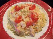 Fenchel-Tomatengemüse auf Spagettinest - Rezept