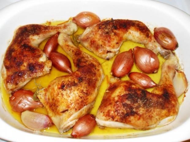knusprige Hähnchenschenkel mit Rosmarinkartoffeln - Rezept - Bild Nr. 5