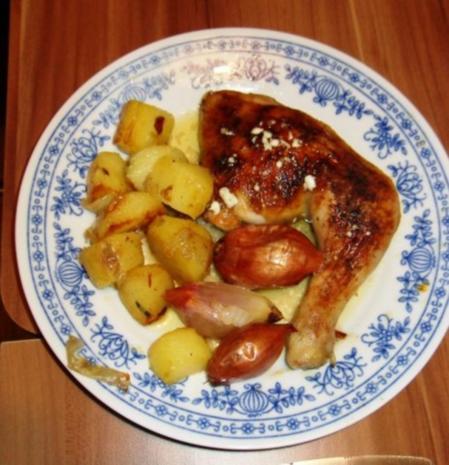 knusprige Hähnchenschenkel mit Rosmarinkartoffeln - Rezept - Bild Nr. 7