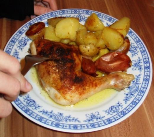knusprige Hähnchenschenkel mit Rosmarinkartoffeln - Rezept - Bild Nr. 8