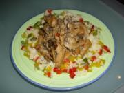 Scharfes Hähnchengeschnetzeltes auf Paprikareis - Rezept