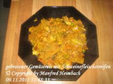 Reis – gebratener Gemüsereis mit Schweinefleischstreifen - Rezept