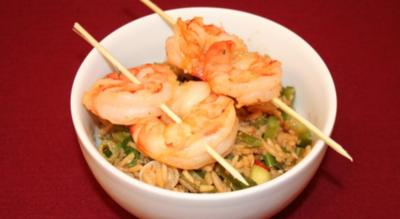 Rezept: Reissalat mit Curry Gambas