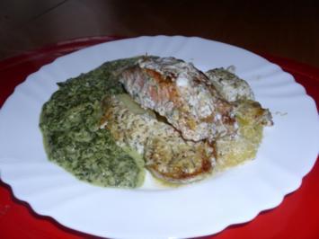 Überbackenes Lachsfilet mit Zitronen-Rahm-Spinat - Rezept