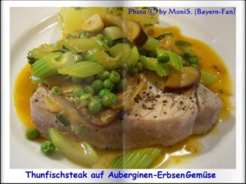 Thunfisch auf Auberginen-Erbsen-Sellerie-Gemüse - Rezept - Bild Nr. 2