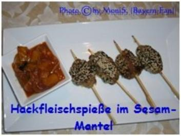 Hackfleisch-Spieße im Sesam-Mantel - Rezept