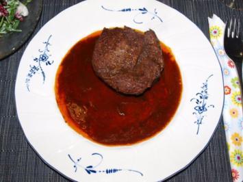 Hirschrückensteaks mit Marsala-Rotweinjus - Rezept