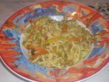 Buntes Gemüse mit China Nudeln und Hühnerbruststreifen - Rezept