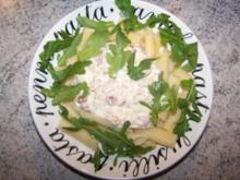 Spaghetti mit Ziegenfrischkäse-Sauce und Rucola - Rezept