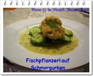 Fischpflanzerl auf Schmorgurken - Rezept