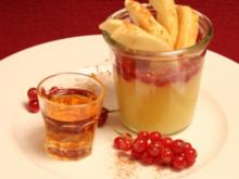Apfelweinkompott an lauwarmer Vanillesoße - Rezept