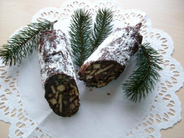 schokoladen chili weihnachtssalami - Rezept