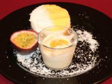 Pfirsich-Maracuja-Törtchen mit halbgefrorenem von der Banane - Rezept