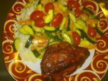 Indisches Hühnchen mit Zucchini (-Kürbis)-Gemüse - Rezept