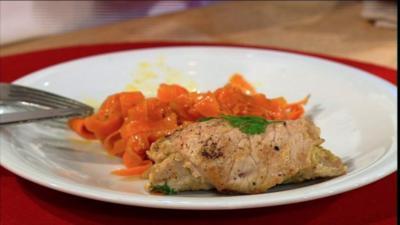 Kalbsröllchen auf winterlichen Karottenspaghetti (Frauen) - Rezept