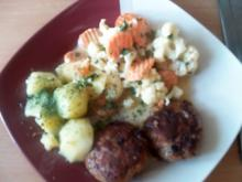Resteessen :Cordon Bleu und Frikadellen mit buntem Gemüse - Rezept