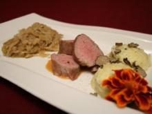 Ibérico-Schwein mit getrüffeltem Kartoffelpüree und Champagnerkraut - Rezept