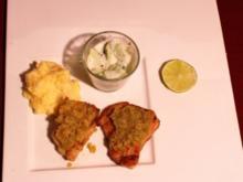 Kabeljaufilet mit Limettenkruste und Safrankartoffelschaum - Rezept