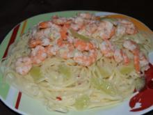 Scharfe Limetten Pasta mit Ingwer-Knoblauch Gambas - Rezept