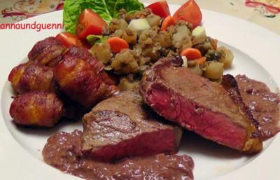 Rumpsteak mit Baconkartoffeln und winterlichem Linsengemüse und Rotweinsauce - Rezept