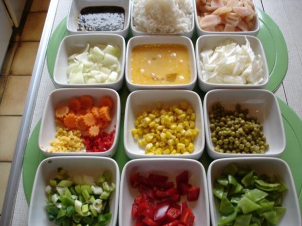 Chinesischer Bratreis mit Ei, Hühnerfleisch und Gemüse - Rezept - Bild Nr. 3