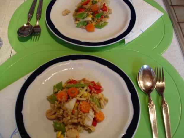 Chinesischer Bratreis mit Ei, Hühnerfleisch und Gemüse - Rezept - Bild Nr. 17