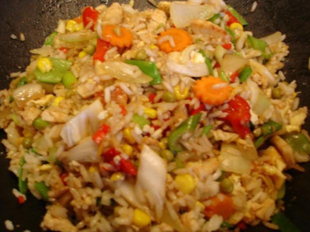 Chinesischer Bratreis mit Ei, Hühnerfleisch und Gemüse - Rezept - Bild Nr. 15