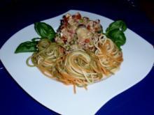 Spaghetti Tricolore mit (m)einer Thunfisch-Sauce - Rezept