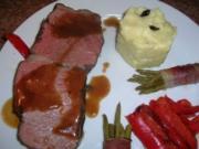 Entrecote, zartrosa gebraten bei NT, mit Trüffelpüree und Speckböhnchen an lecker Sößchen - Rezept