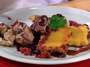 Putenröllchen mit Polenta in Rotweinsauce (Frauen) - Rezept