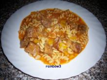 Kochen: Nudel-Paprika-Gulasch-Pfanne - Rezept