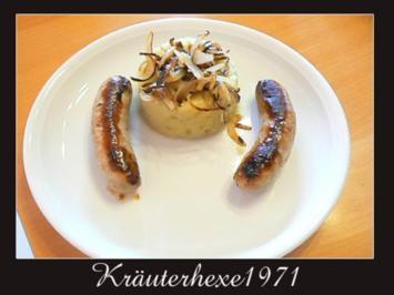 Püree von der Süßkartoffel mit grober Bratwurst.... - Rezept