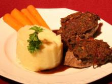 Lammlachse mit Pumpernickelkruste, Balsamicojus und getrüffeltem Kartoffelpüree - Rezept