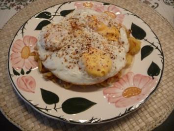 Resteverwertung : Bratkartoffeln mit Ei - Rezept