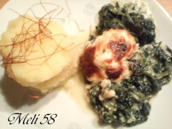 Aufläufe/ Überbackenes:  Spinatauflauf mit Pochierten Eiern und Gargonzola - Rezept