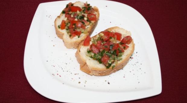 Bruschetta mit Tomaten und Knoblauch - Rezept