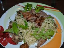 Linguini mit Pilzen und Rinderfiletstreifen - Rezept
