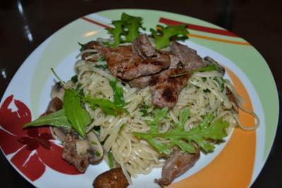 Rezept: Linguini mit Pilzen und Rinderfiletstreifen