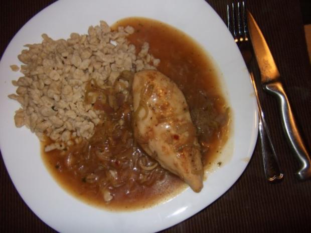 Hähnchenbrustfilets in Lauch Zwiebelsoße Dieter´s Art - Rezept