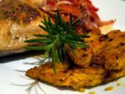 Pikant-fruchtige Hähnchenkeulen mit scharfen Polentaschnitten - Rezept