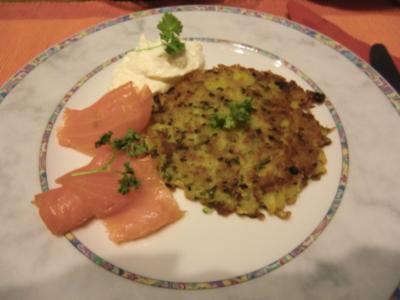 Kartoffelpuffer mit Räucherlachs und Sahnemeerrettich - Rezept